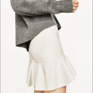 Zara off white mini pleather peplum skirt NWOT